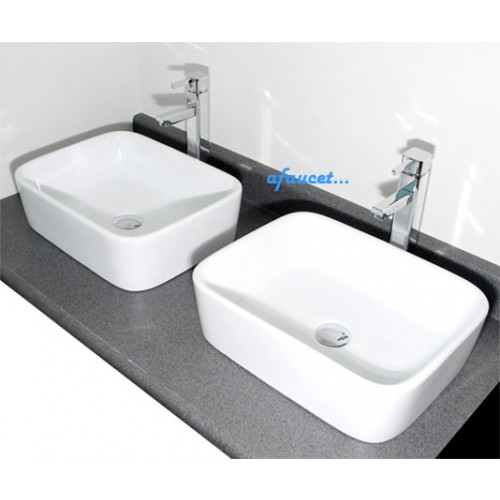 Rectangular White Porcelain Ceramic Countertop Bathroom Vessel Sink - 19 x 14-1/2 x 5-1/4 Inch