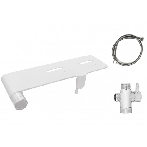 Non-Electric Bidet Seat Thin Attachment in White with Dual Cleaning Nozzles- Stainless Steel Hose and Stainless Steel T Adapter included