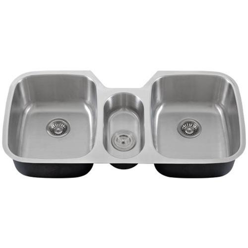 43 Inch Stainless Steel Undermount Triple Bowl Kitchen Sink - 16 Gauge