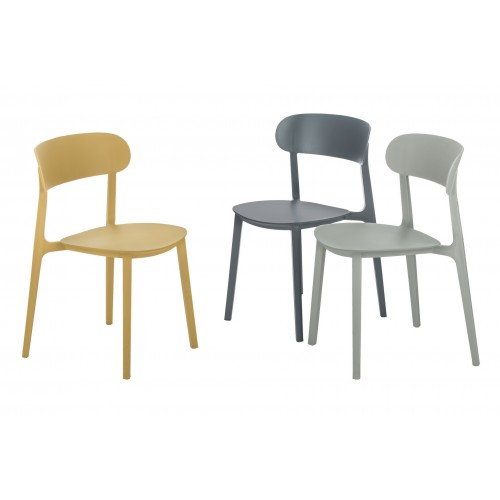 4 x CozyBlock Campus Series Side Chairs, Mid-Century Modern Dining Chair, Stackable Chair, Great for Indoor and Outdoor