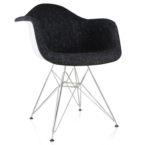 Eames Style Black Woven Fabric Upholstered Accent Arm Chair