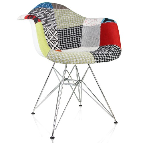 Multicolor Patchwork Fabric Upholstered Mid-Century Eames Style Accent Arm Chair with Steel Eiffel Legs