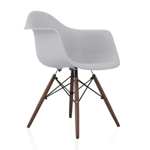 DAW Light Gray Plastic Dining Armchair with Dark Walnut Wood Eiffel Legs