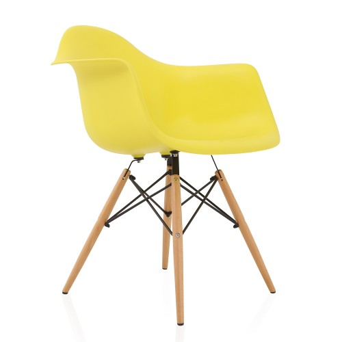 DAW Light Yellow Plastic Dining Armchair with Wood Eiffel Legs