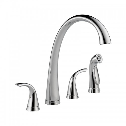 Delta Pilar Two Handle Widespread Lead Free Kitchen Faucet With Side Spray