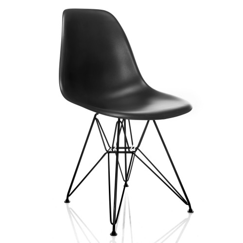 Nature Series DSR Mid-Century Modern Dining Accent Side Chair with Black Eiffel Steel Leg