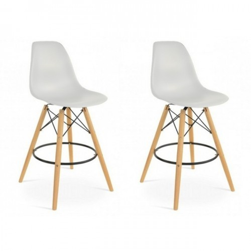 Set of 2 DSW Light Gray Plastic 26 Inch Counter Stool with Wood Eiffel Legs
