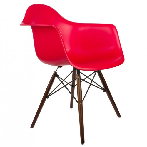 DAW Molded Red Plastic Dining Armchair with Dark Walnut Wood Eiffel Legs