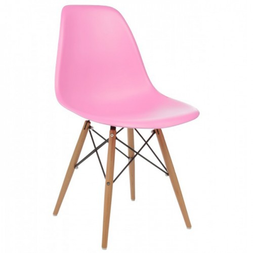 DSW Molded Pink Plastic Dining Shell Chair with Wood Eiffel Legs