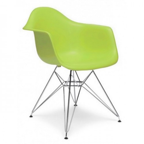 DAR Molded Lime Green Plastic Dining Armchair with Steel Eiffel Legs