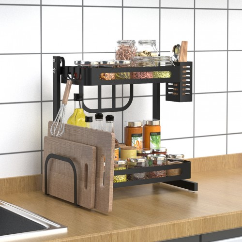 "14.8"" 2-Tier Black Stainless Steel Spice Rack, Kitchen Storage Countertop Organizer, Storage Basket with Knifes and Cutlery Holder, Chopping Board Holder, Utensil Holder, Kitchen Space Saver"