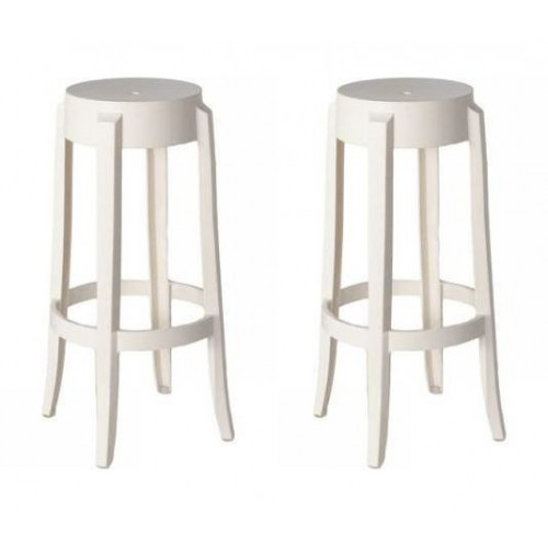 Set of 2 Victoria Style Ghost Bar Stool White Color