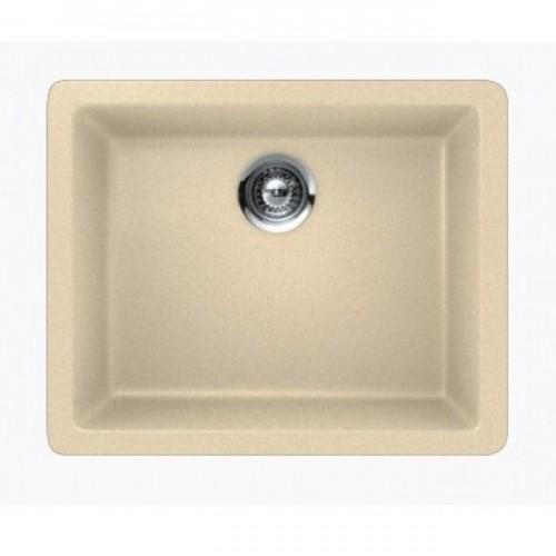 Beige Quartz Composite Single Bowl Undermount / Drop In Kitchen Sink - 21-5/8 x 16-15/16 x 8 Inch