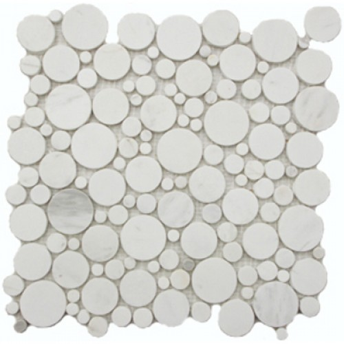 White Flat Pebble Marble Mosaic Circle Tile Mesh Backed Sheet