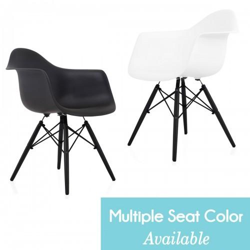 CozyBlock DAW Scandinavian Molded Plastic Dining Arm Chair with Black Wood Eiffel Legs