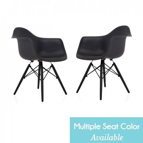 CozyBlock Set of 2 DAW Scandinavian Molded Plastic Dining Arm Chair with Black Wood Eiffel Legs