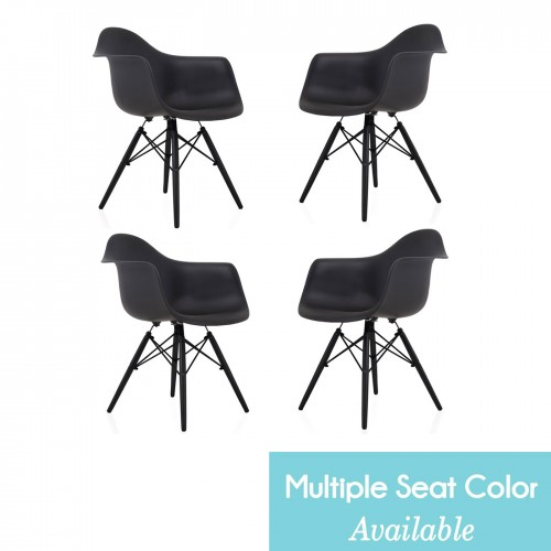 CozyBlock Set of 4 Eames Style DAW Scandinavian Molded Plastic Dining Arm Chair with Black Wood Eiffel Legs