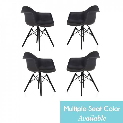 CozyBlock Set of 4 DAW Scandinavian Molded Plastic Dining Arm Chair with Black Wood Eiffel Legs