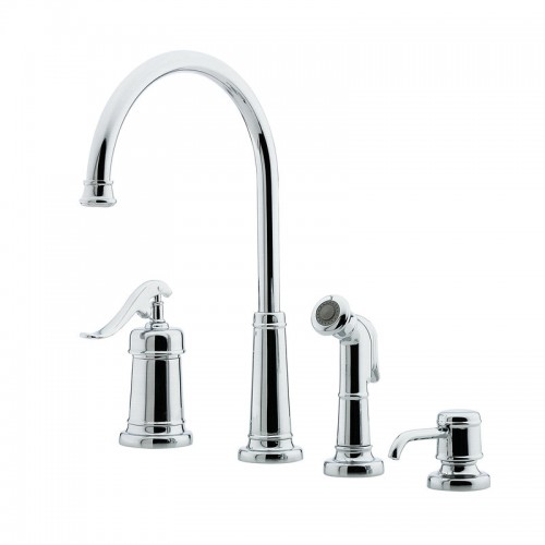 Pfister Ashfield Single Handle Widespread Lead Free Kitchen Faucet With Side Spray And Soap Dispenser
