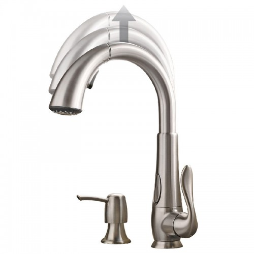 Pfister Elevate Lead Free Single Handle Pull Out Kitchen Faucet With Soap Dispenser