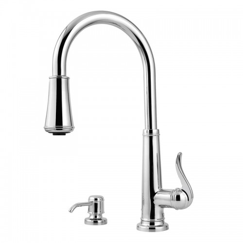 Pfister Ashfield Lead Free Single Handle Pull Out Kitchen Faucet With Soap Dispenser