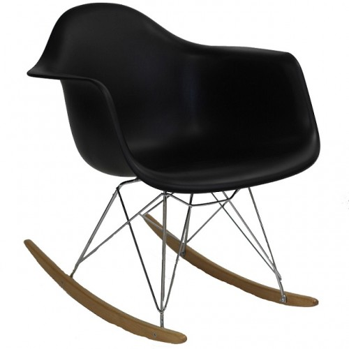RAR Molded Black Plastic Rocking Chair with Steel Eiffel Legs