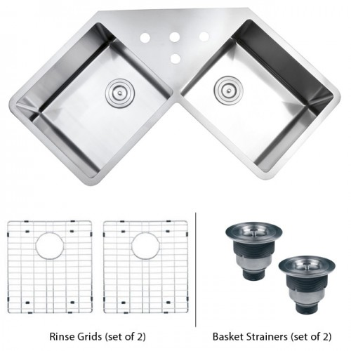 43 Inch Stainless Steel Undermount Butterly Corner Double Bowl Kitchen Sink with Free Accessories