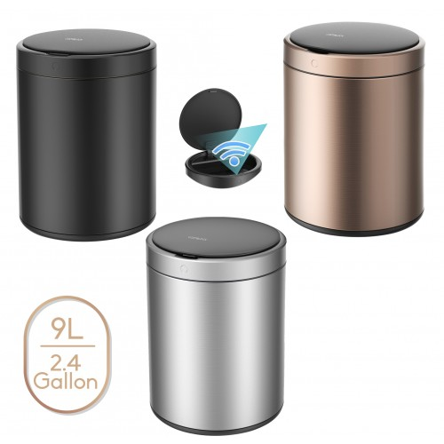 CozyBlock 2.4 Gallon 9L Automatic Trash Can, Stainless Steel Touchless Motion Sensor Bin, Quiet Soft Close Lid, IPX4 Waterproof