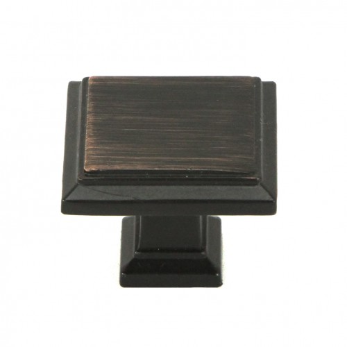 1-1/4 inch Square Cabinet Pull Knob in Oil Rubbed Bronze Finish