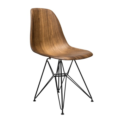 Wood Veneer DSW Dining Side Chair with Black Steel Eiffel Leg