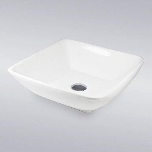 White Porcelain Ceramic Countertop Bathroom Vessel Sink - 17-1/2 x 17-1/2 x 5-1/4 Inch