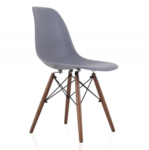 DSW Gray Plastic Dining Shell Chair with Dark Walnut Wood Eiffel Legs