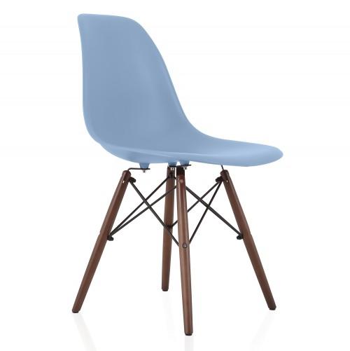 Nature Series Slate Blue DSW Molded Plastic Dining Side Chair Dark Walnut Wood Eiffel Legs