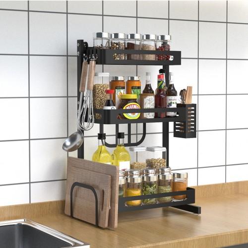"14.84"" 3-Tier Black Stainless Steel Spice Rack, Kitchen Storage Countertop Organizer, Storage Basket with Knifes and Cutlery Holder, Chopping Board Holder, Utensil Holder, Kitchen Space Saver"