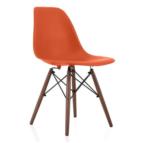 Nature Series Blood Orange DSW Molded Plastic Dining Side Chair Dark Walnut Wood Eiffel Legs