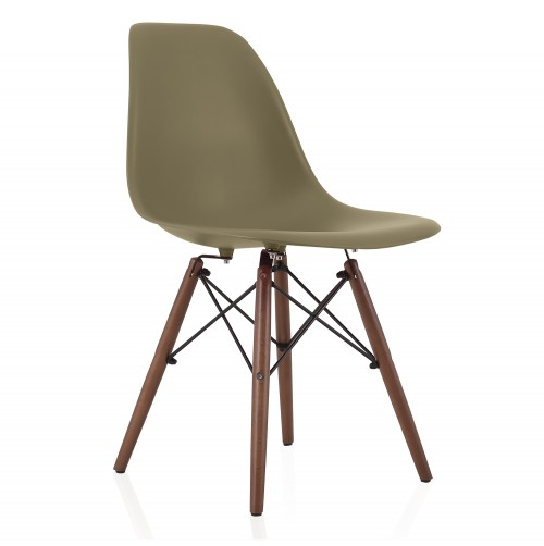 Nature Series Earth Green DSW Molded Plastic Dining Side Chair Dark Walnut Wood Eiffel Legs