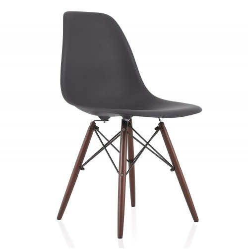 Nature Series Carbon Gray DSW Molded Plastic Dining Side Chair Dark Walnut Wood Eiffel Legs