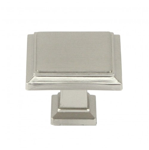 1-1/4 inch Stainless Steel Square Cabinet Pull Knob in Brushed Nickel Finish