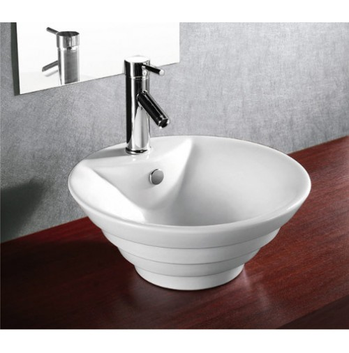 Porcelain Ceramic Single Hole Countertop Bathroom Vessel Sink - 18-1/2 x 7-1/2 Inch