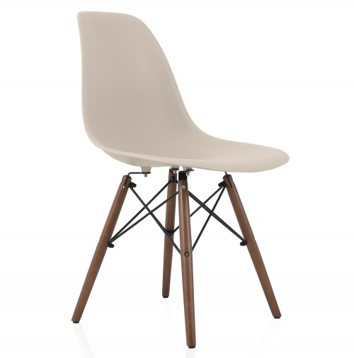 Nature Series Cream Beige DSW Molded Plastic Dining Side Chair Dark Walnut Wood Eiffel Legs