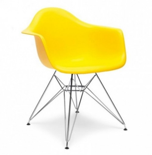 DAR Molded Light Yellow Plastic Dining Armchair with Steel Eiffel Legs