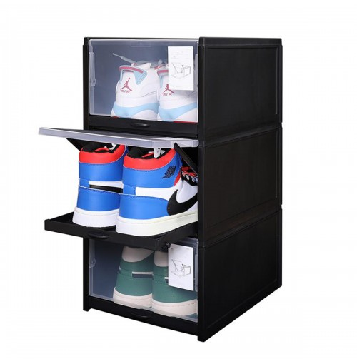CozyBlock Stackable Shoe Box in Black, Clear Shoe Storage Box,Shoe Drawer, Smart Pull-out Sliding Shoe Container, Sneakers Display Organizer (Set of 3)
