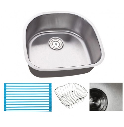 Pearl 23 Inch Premium 16 Gauge Stainless Steel Undermount Single D-Bowl Kitchen Sink with FREE ACCESSORIES