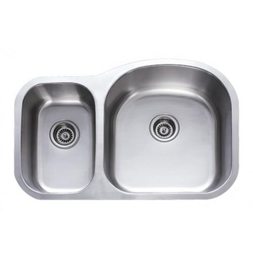 31 Inch Stainless Steel Undermount 30/70 Double Bowl Kitchen Sink - 18 Gauge