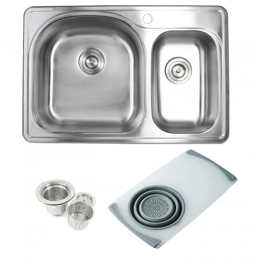 Topmount Drop-In Stainless Steel 33 in. x 22 in. 1 Faucet Hole 70/30 Offset Double Bowl Kitchen Sink w Cutting Board Colander & Strainer
