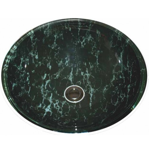 Swamp Forest Design Glass Countertop Bathroom Lavatory Vessel Sink - 16-1/2 x 5-3/4 Inch