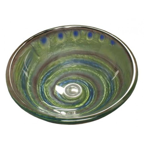 Mystical Twist Design Glass Countertop Bathroom Lavatory Vessel Sink - 16-1/2 x 5-3/4 Inch