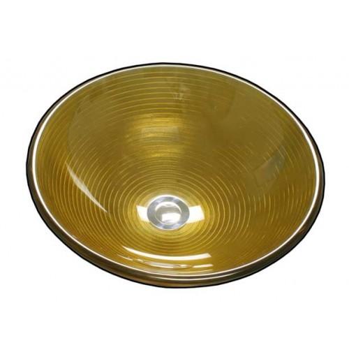 Golden Zoom Design Glass Countertop Bathroom Lavatory Vessel Sink - 16-1/2 x 5-3/4 Inch