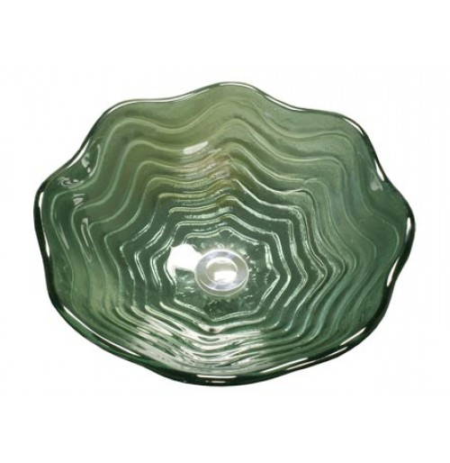 Green Pearl Shell Design Glass Countertop Bathroom Lavatory Vessel Sink - 16-1/2 x 5-3/4 Inch