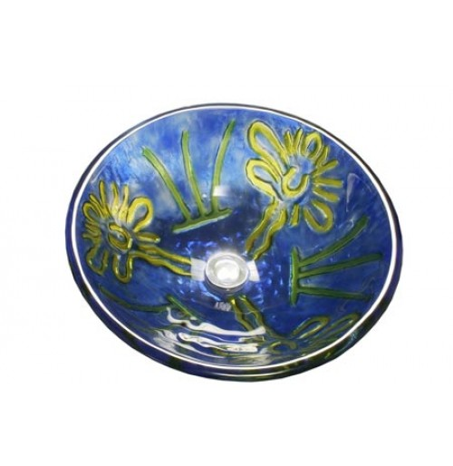 Van Gogh Abstract Design Glass Countertop Bathroom Lavatory Vessel Sink - 16-1/2 x 5-3/4 Inch